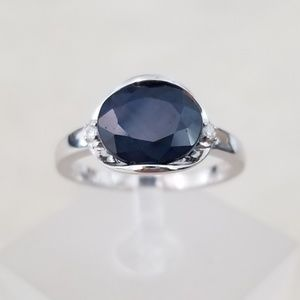 Sterling 3.25ct Natural Sapphire & Diamonds Ring